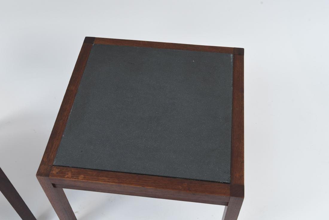MID-CENTURY SLATE TOP END TABLES - 2