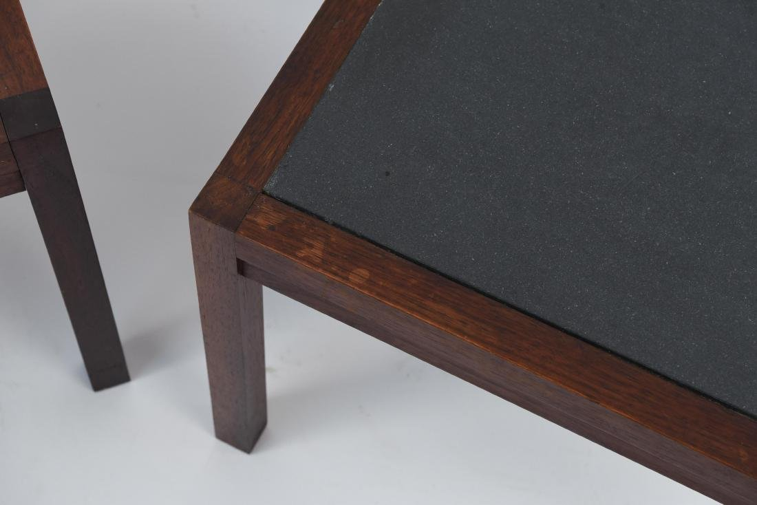 MID-CENTURY SLATE TOP END TABLES - 3