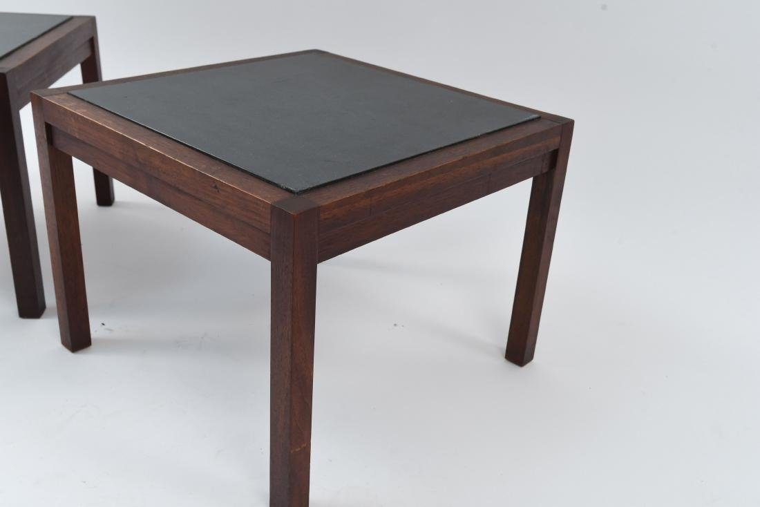 MID-CENTURY SLATE TOP END TABLES - 5