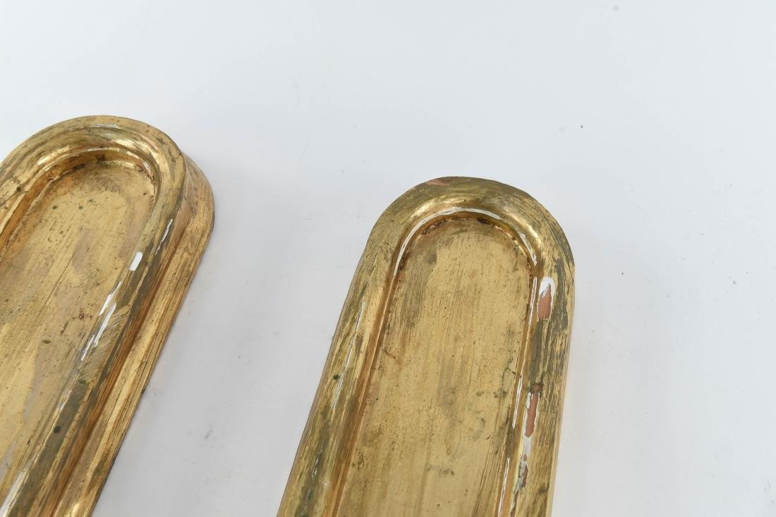 PAIR OF GILT WOOD CANDLE HOLDER SCONCES - 5