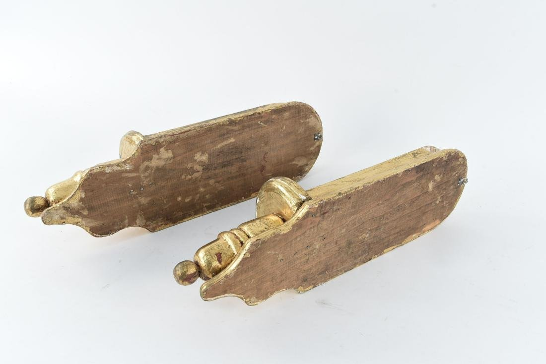 PAIR OF GILT WOOD CANDLE HOLDER SCONCES - 8