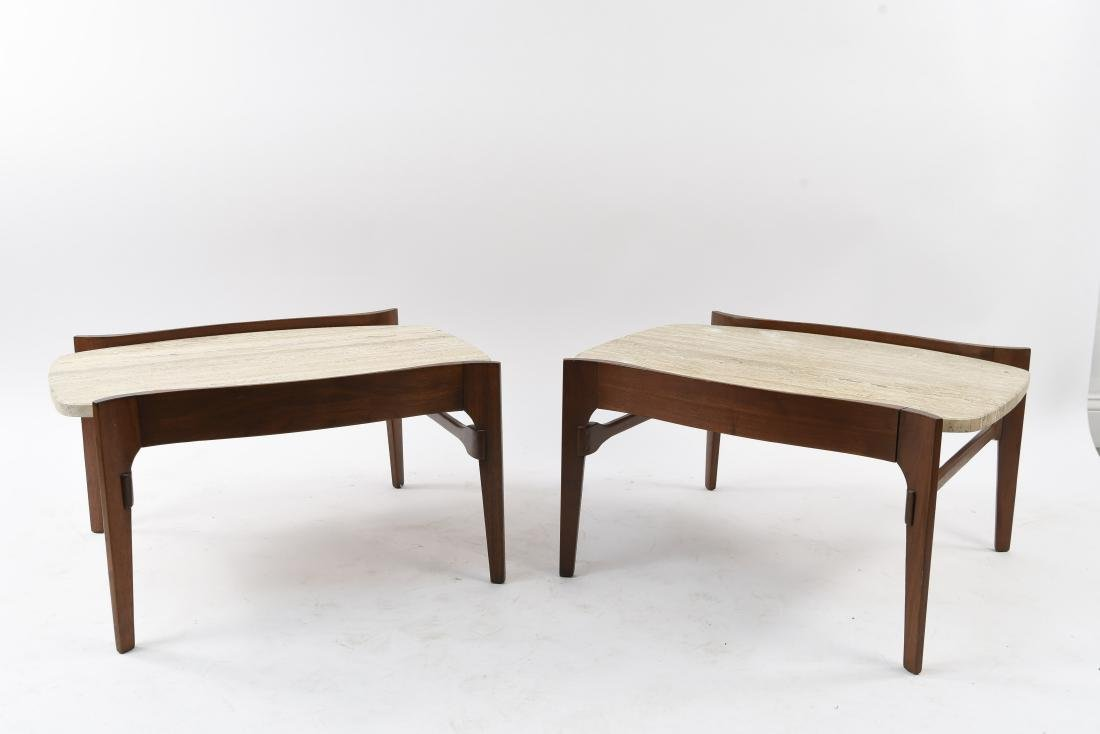 MID-CENTURY TRAVERTINE TOP SIDE TABLES