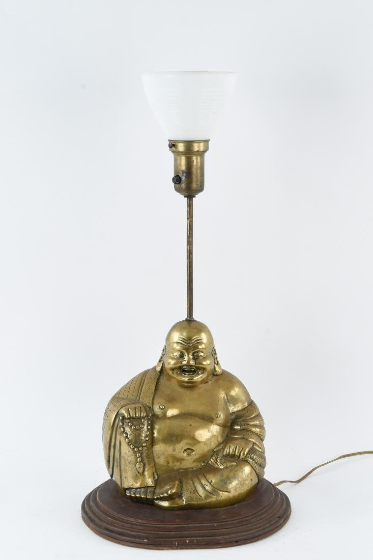 BRASS SCULPTURAL BUDDHA LAMP
