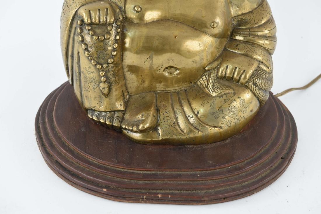 BRASS SCULPTURAL BUDDHA LAMP - 4