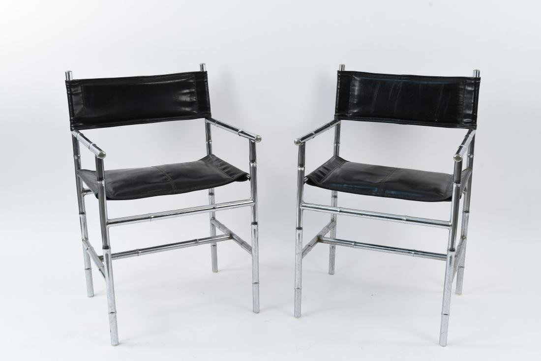 PAIR OF FAUX BAMBOO CHROME & LEATHER CHAIRS