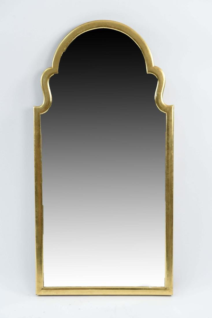 GILT AND SCULPTED TOP BEVELED MIRROR