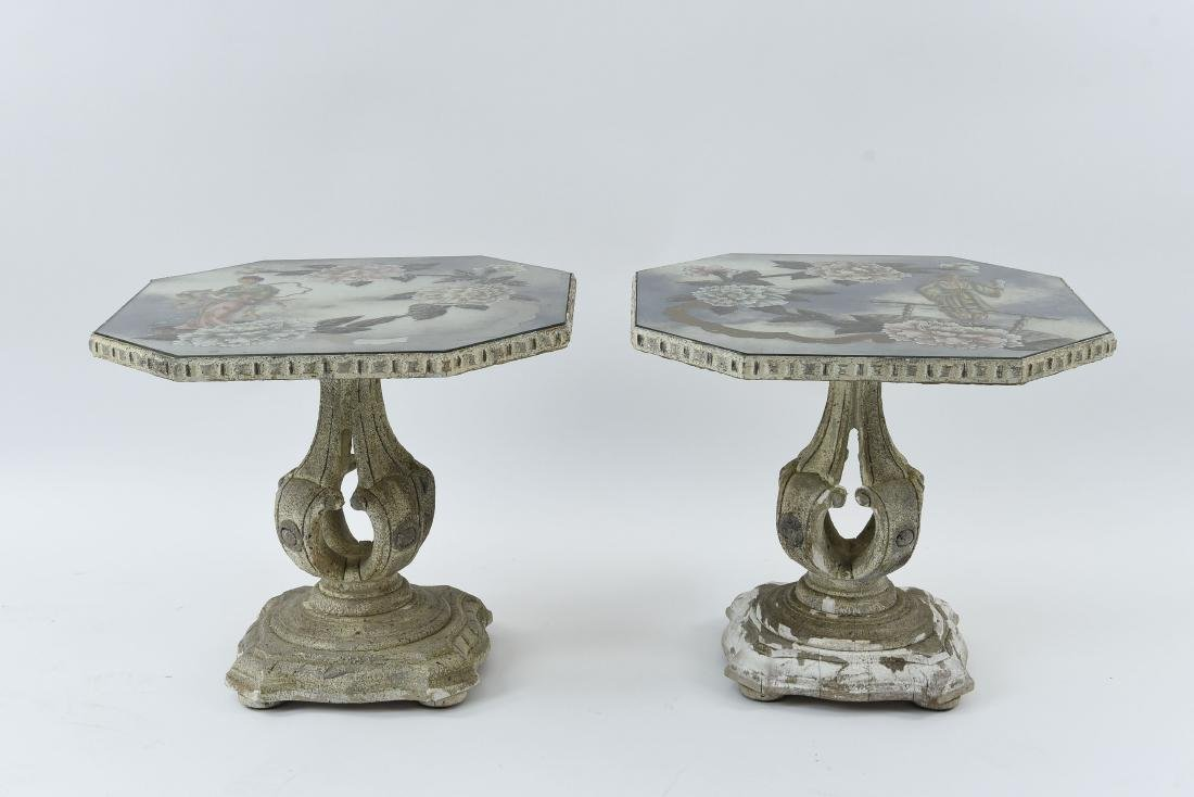 PAIR OF CHINOISERIE MIRROR TOP END TABLES