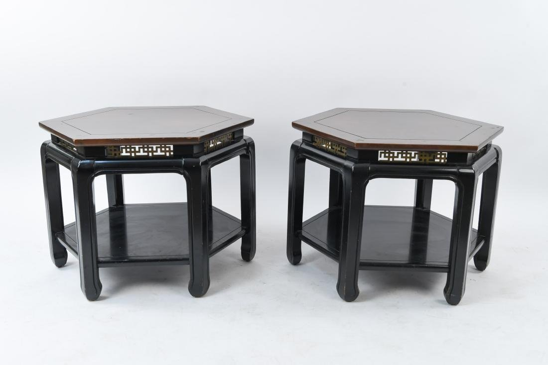 MID-CENTURY J. B. VAN SCIVER HEXAGONAL TABLES
