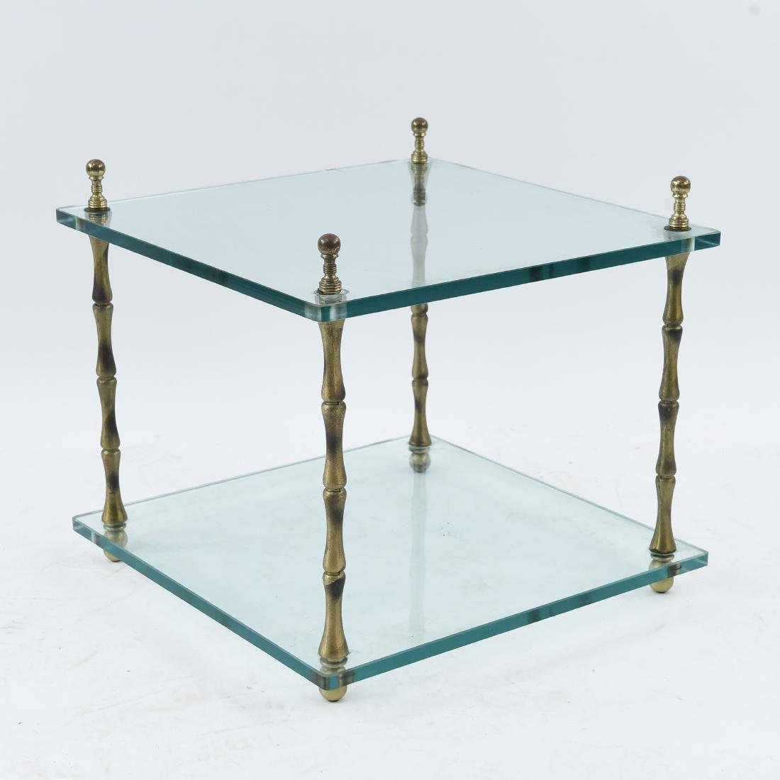 GLASS & BRASS FAUX BAMBOO SIDE TABLE