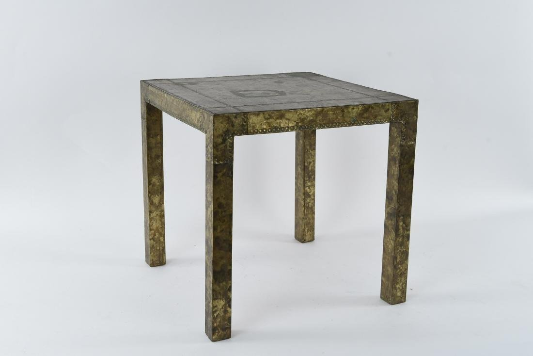 BRASS CLAD SIDE TABLE