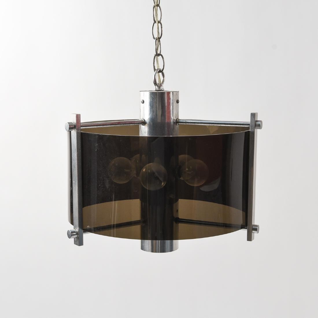 MID-CENTURY CHROME & LUCITE HANGING LIGHT FIXTURE
