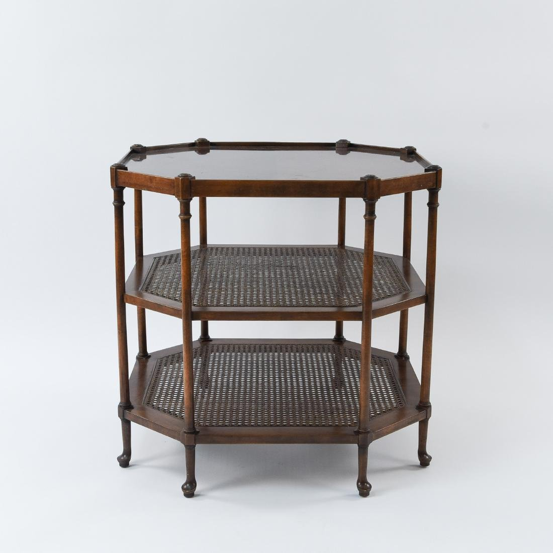 OCTAGONAL BURL WOOD AND CANED SIDE TABLE