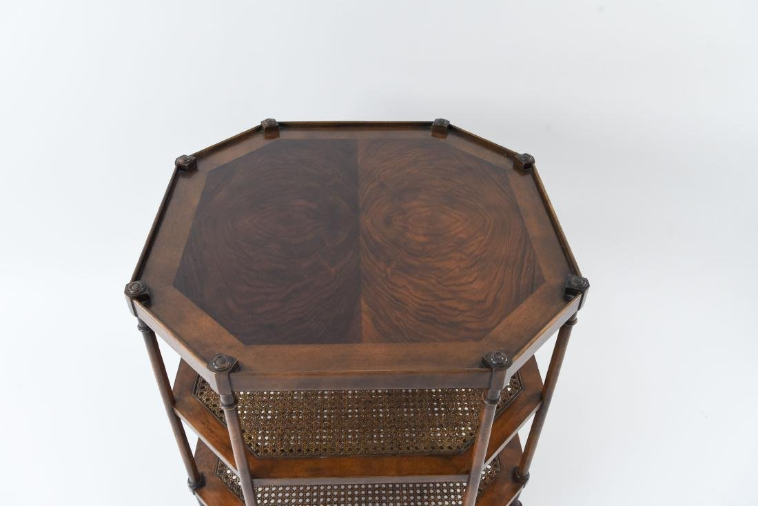 OCTAGONAL BURL WOOD AND CANED SIDE TABLE - 2