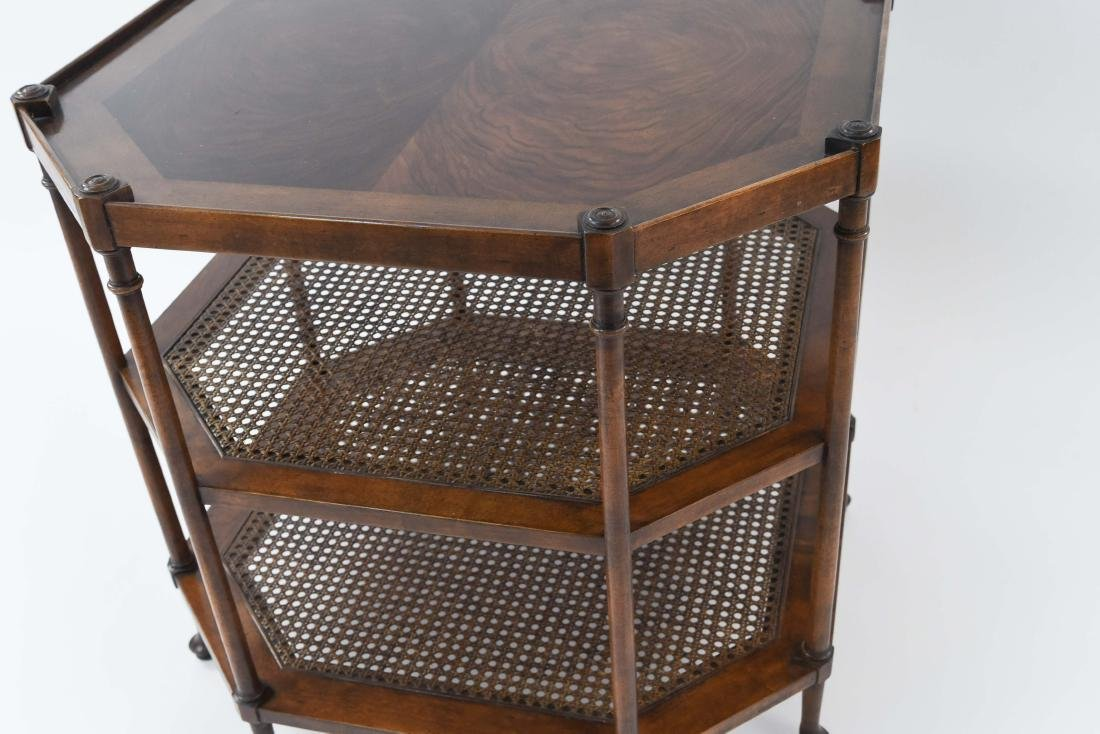 OCTAGONAL BURL WOOD AND CANED SIDE TABLE - 4