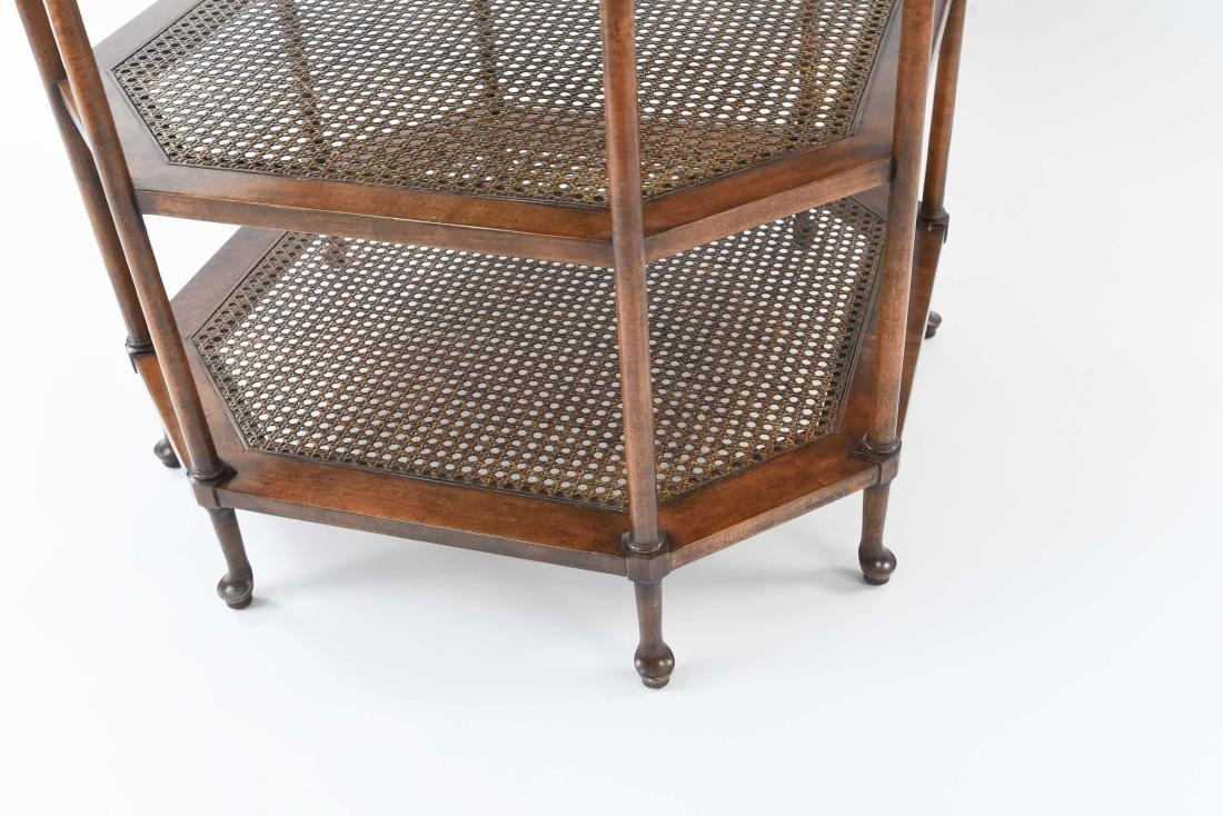 OCTAGONAL BURL WOOD AND CANED SIDE TABLE - 5