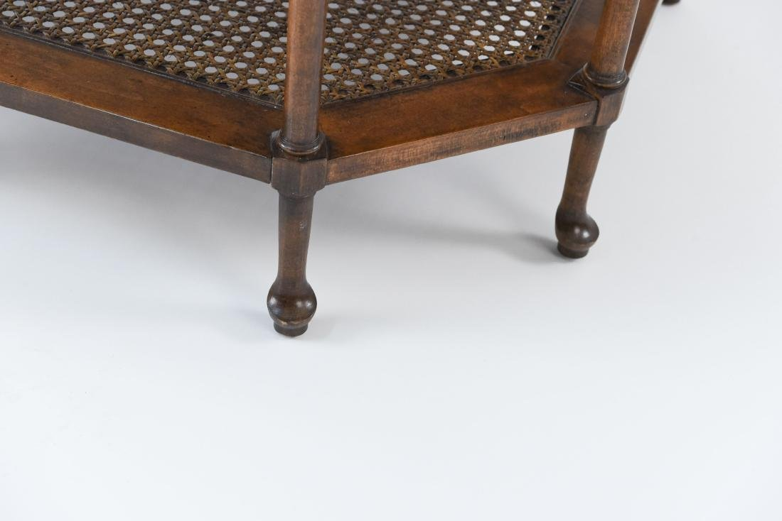 OCTAGONAL BURL WOOD AND CANED SIDE TABLE - 6