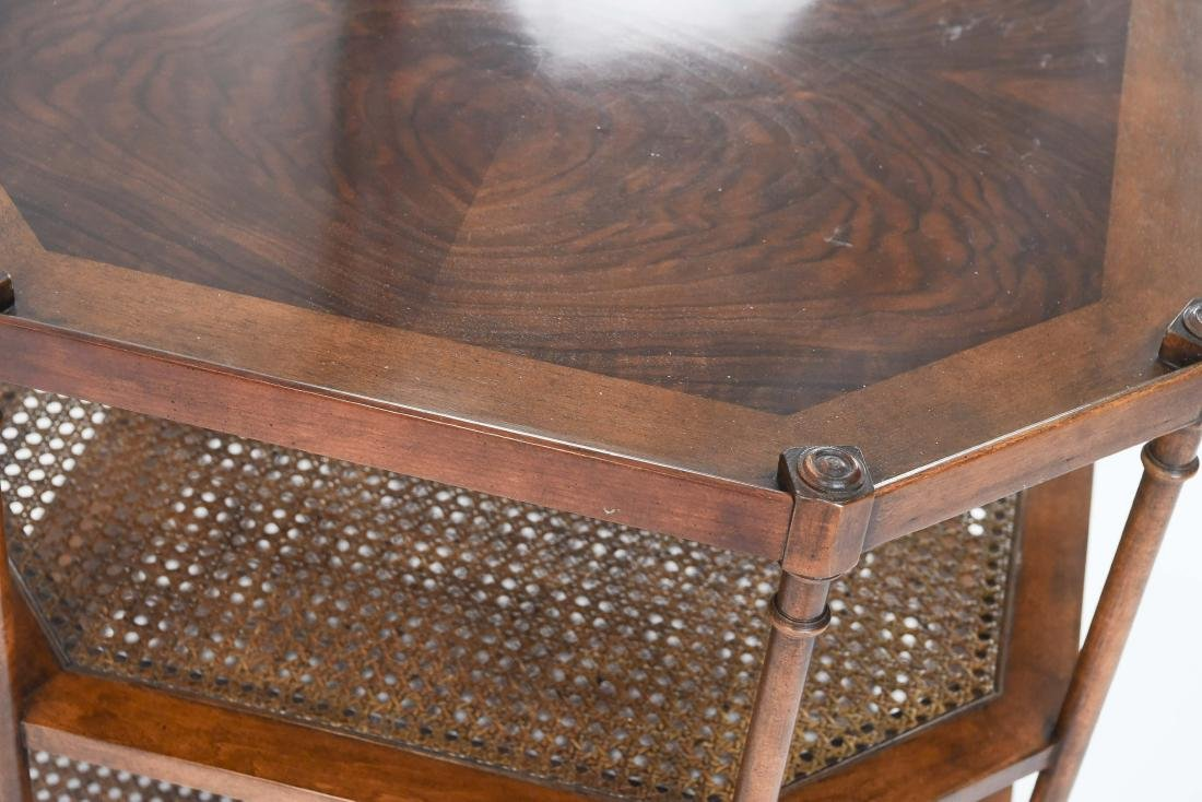 OCTAGONAL BURL WOOD AND CANED SIDE TABLE - 7