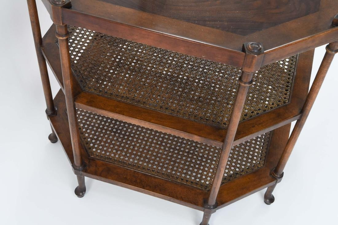 OCTAGONAL BURL WOOD AND CANED SIDE TABLE - 8