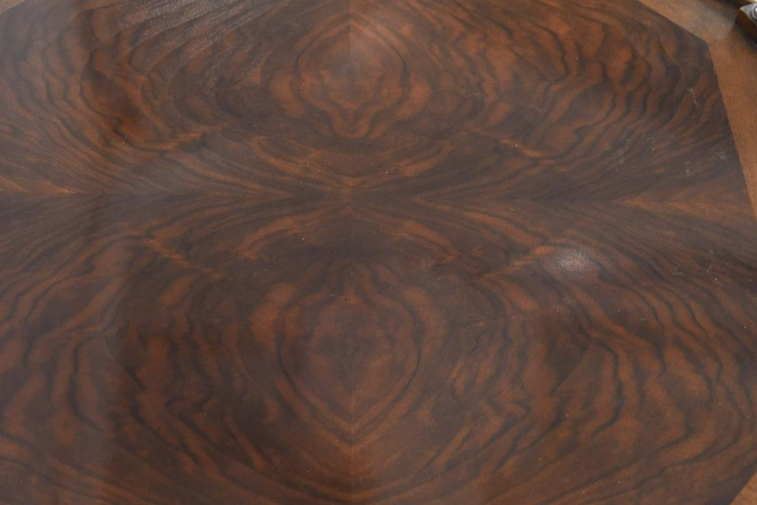 OCTAGONAL BURL WOOD AND CANED SIDE TABLE - 9