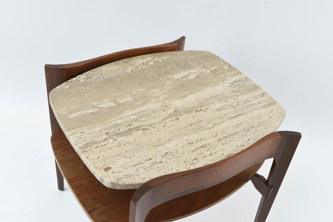 BERTHA SCHAEFER TRAVERTINE TWO-TIERED SIDE TABLE - 2