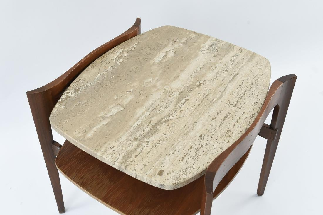 BERTHA SCHAEFER TRAVERTINE TWO-TIERED SIDE TABLE - 8