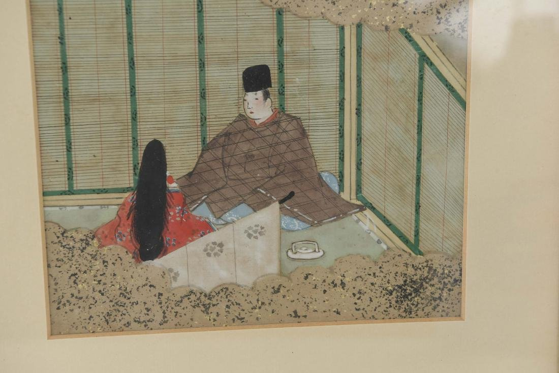 (3) OLD JAPANESE PAINTINGS ON SPRINKLED GOLD PAPER - 10