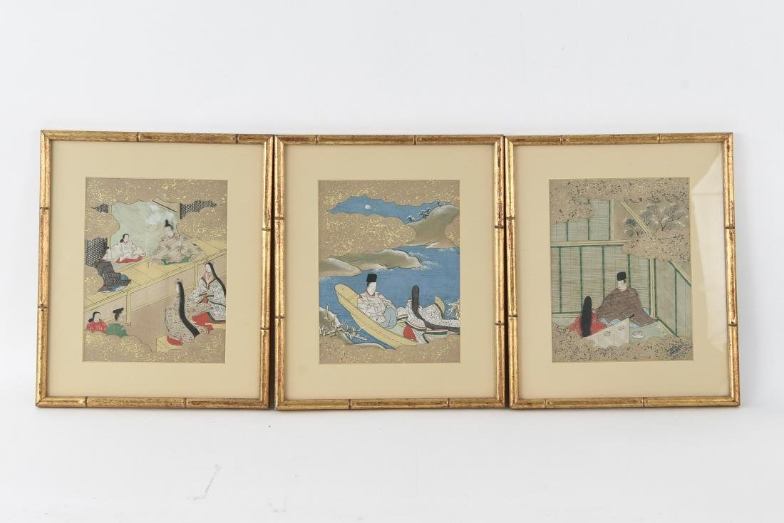 (3) OLD JAPANESE PAINTINGS ON SPRINKLED GOLD PAPER