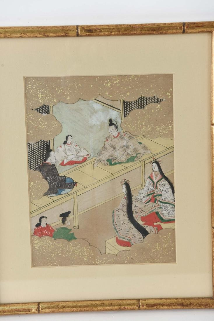 (3) OLD JAPANESE PAINTINGS ON SPRINKLED GOLD PAPER - 2