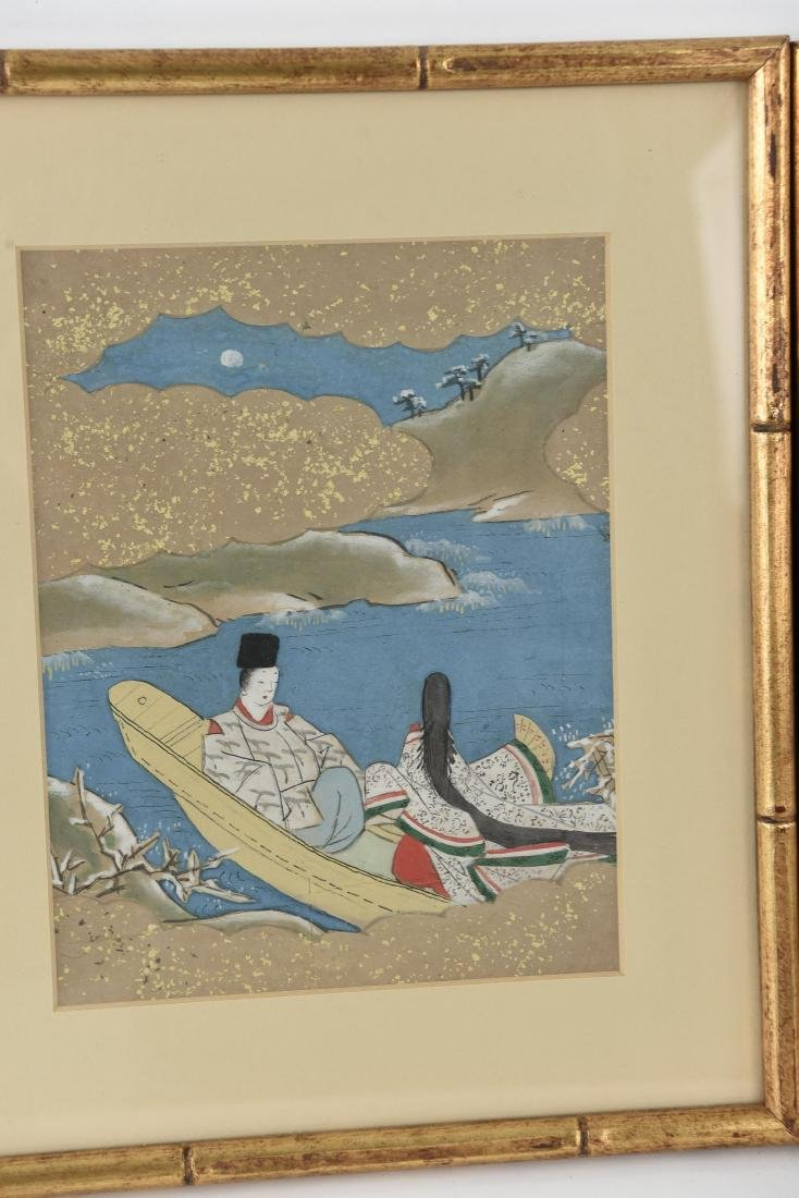 (3) OLD JAPANESE PAINTINGS ON SPRINKLED GOLD PAPER - 3