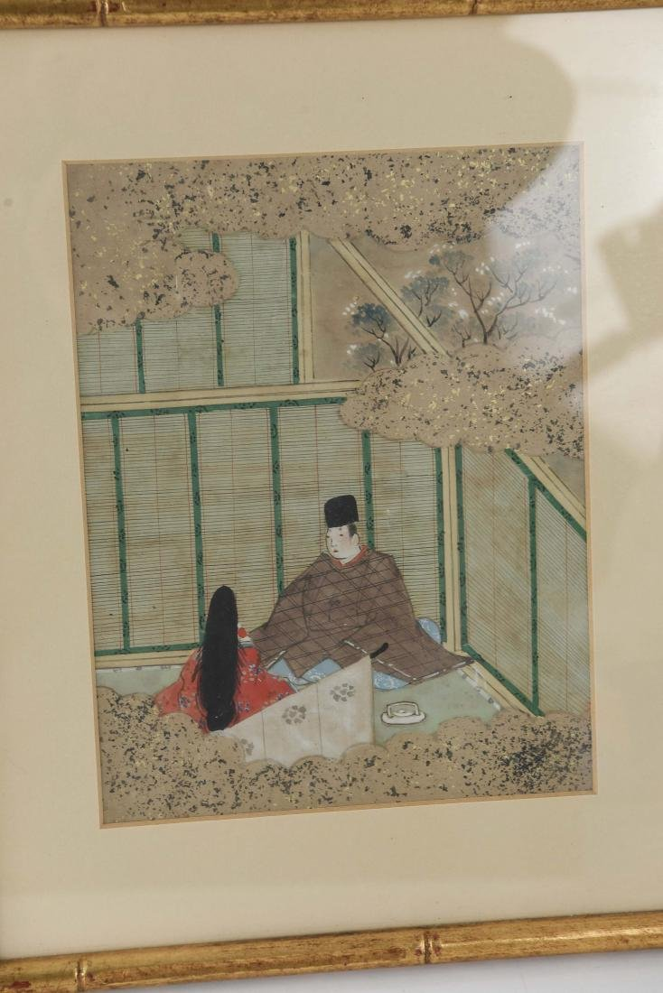 (3) OLD JAPANESE PAINTINGS ON SPRINKLED GOLD PAPER - 4