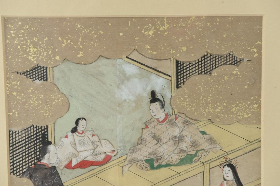 (3) OLD JAPANESE PAINTINGS ON SPRINKLED GOLD PAPER - 5