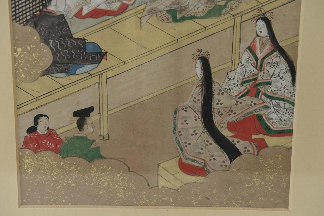 (3) OLD JAPANESE PAINTINGS ON SPRINKLED GOLD PAPER - 6