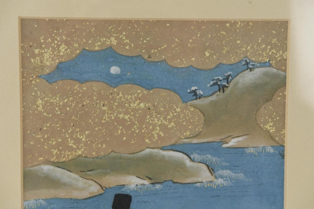 (3) OLD JAPANESE PAINTINGS ON SPRINKLED GOLD PAPER - 8