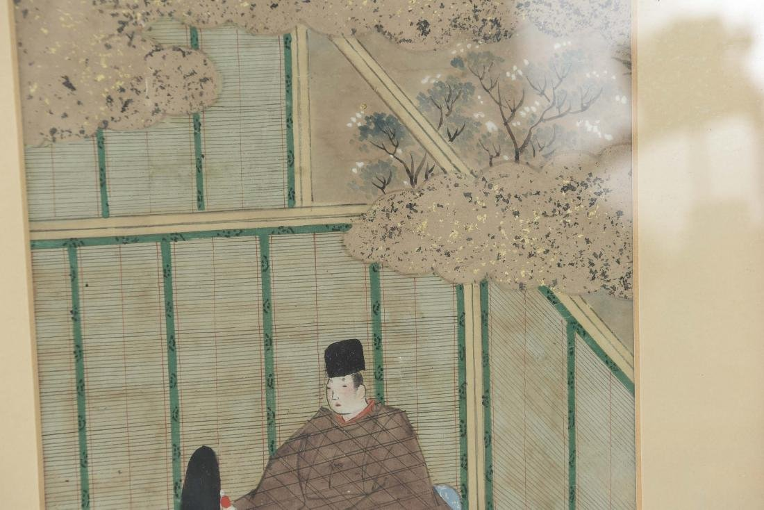 (3) OLD JAPANESE PAINTINGS ON SPRINKLED GOLD PAPER - 9