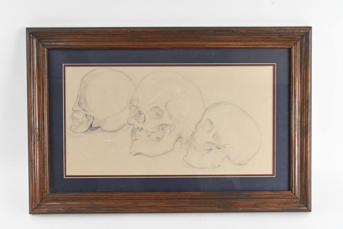 20TH CENTURY SKULL STUDY PENCIL DRAWING