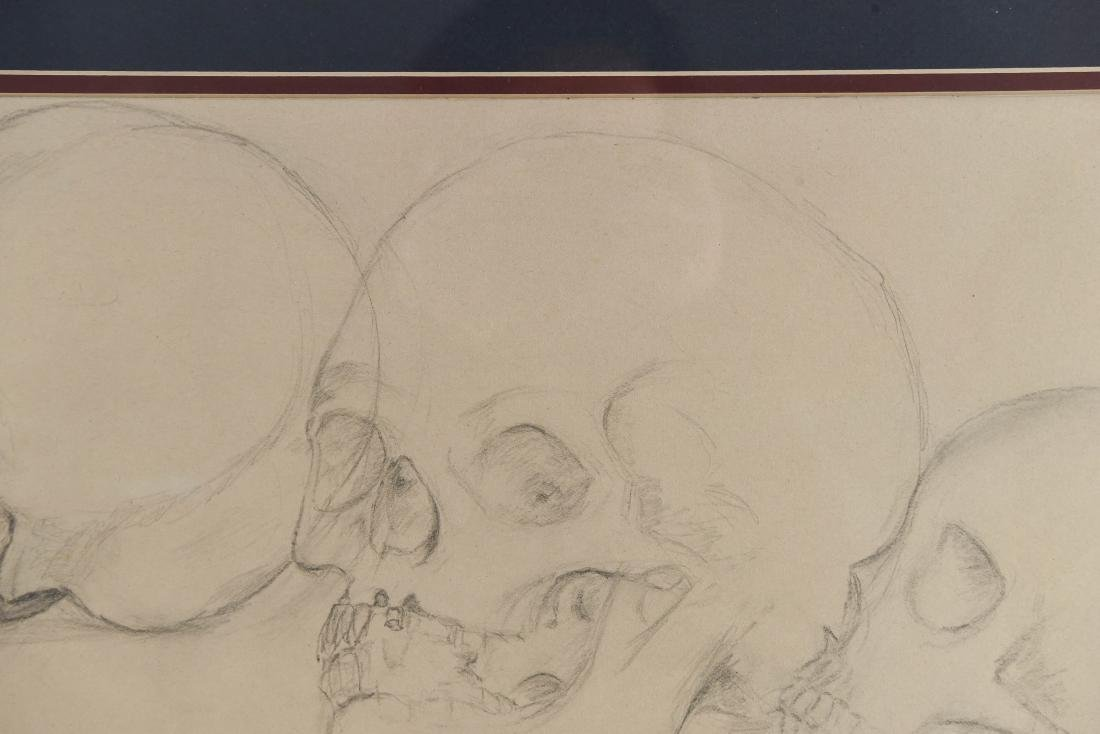 20TH CENTURY SKULL STUDY PENCIL DRAWING - 4