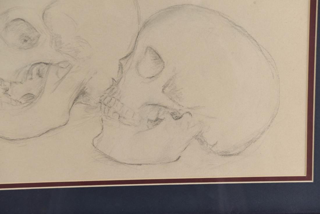 20TH CENTURY SKULL STUDY PENCIL DRAWING - 6