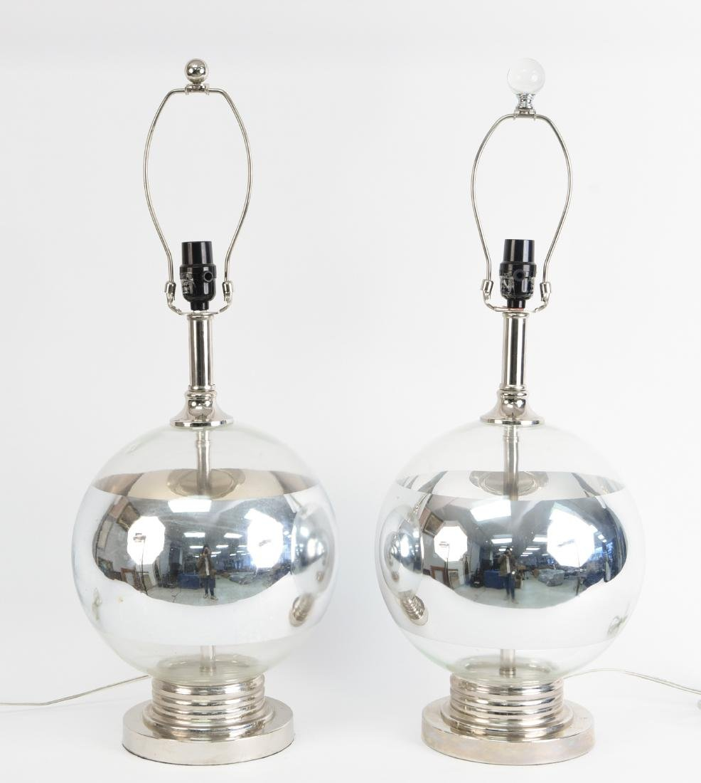 GLASS AND CHROME MIRRORED GLOBE LAMPS