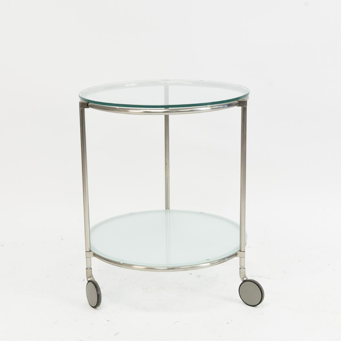 TWO TIERED CHROME CONTEMPORARY SIDE TABLE