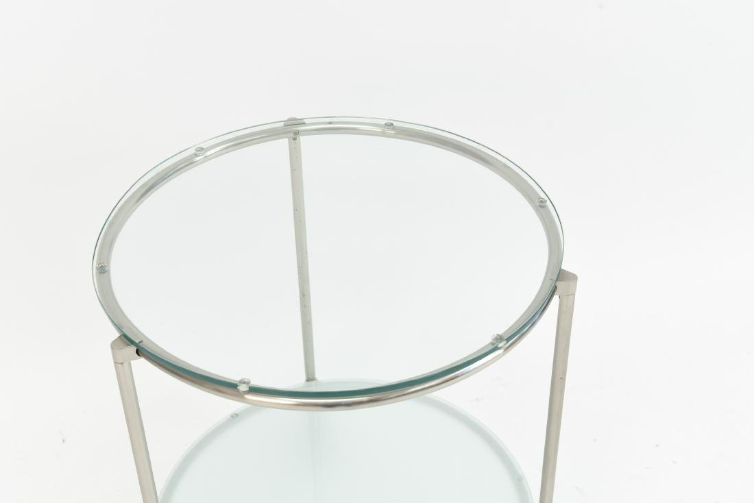 TWO TIERED CHROME CONTEMPORARY SIDE TABLE - 2