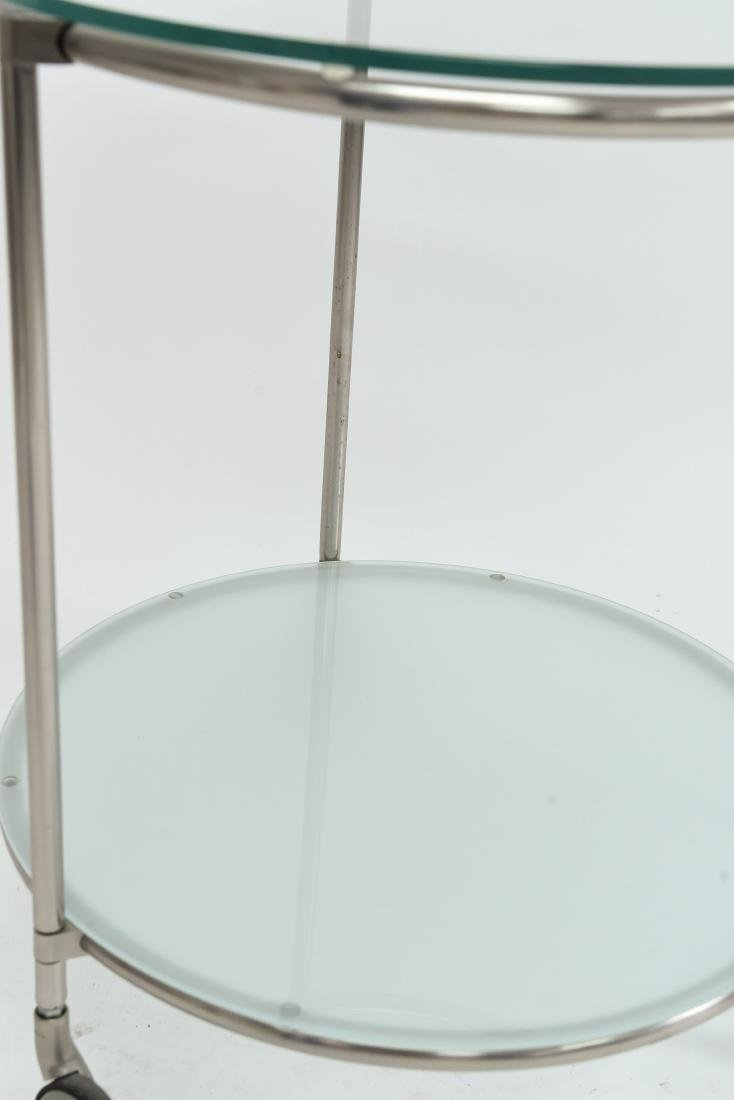 TWO TIERED CHROME CONTEMPORARY SIDE TABLE - 7
