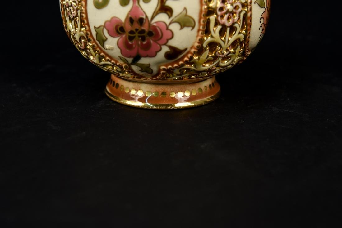 ZSOLNAY PECS PAINTED PIERCED PORCELAIN VASE - 5