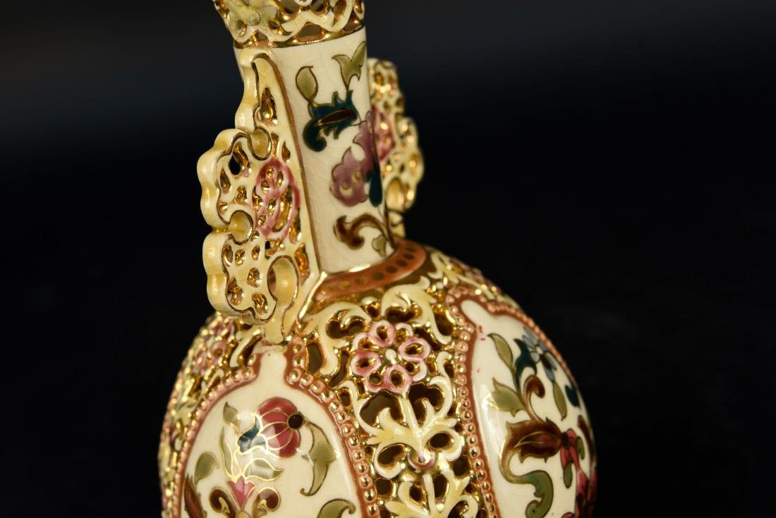 ZSOLNAY PECS PAINTED PIERCED PORCELAIN VASE - 6
