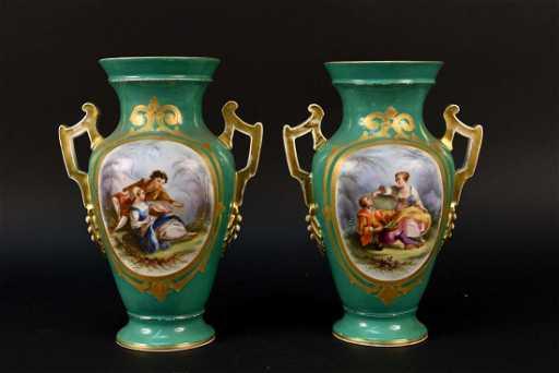 Pair Of Old Paris Ware Porcelain Vases