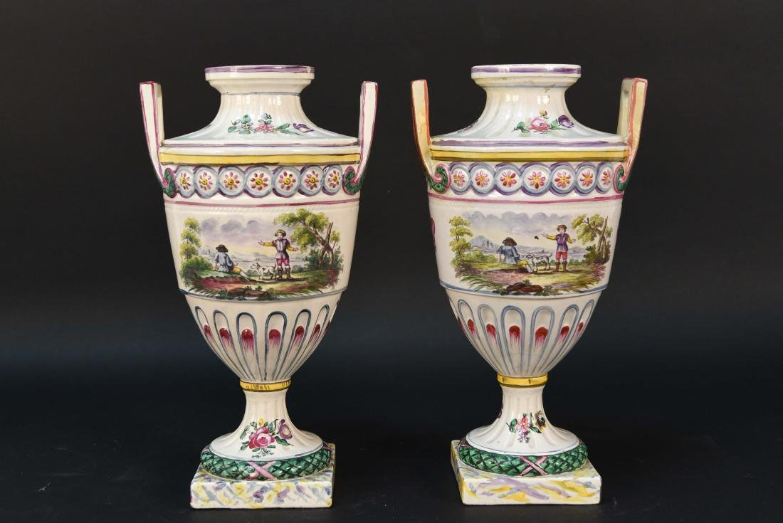 PAIR OF MARSEILLES FAIENCE LATE 18TH C. URNS