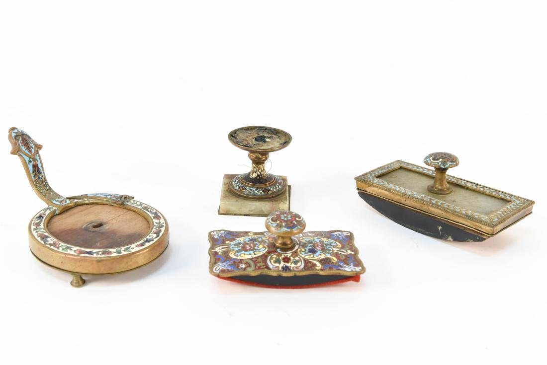 GROUPING OF CHAMPLEVE ENAMEL DESK ITEMS