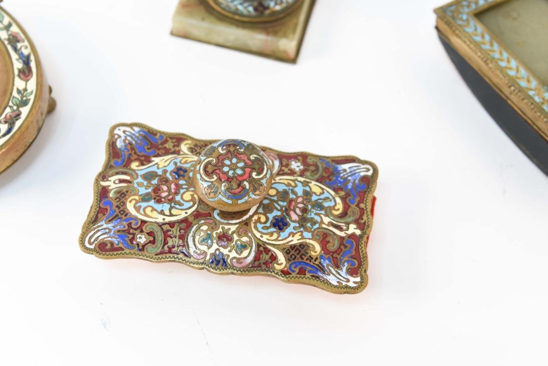 GROUPING OF CHAMPLEVE ENAMEL DESK ITEMS - 3