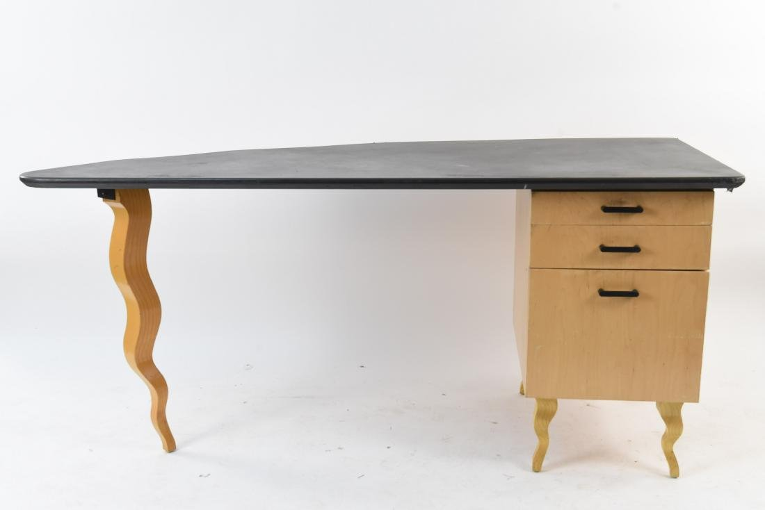 MID-CENTURY LEATHER TOP DESK