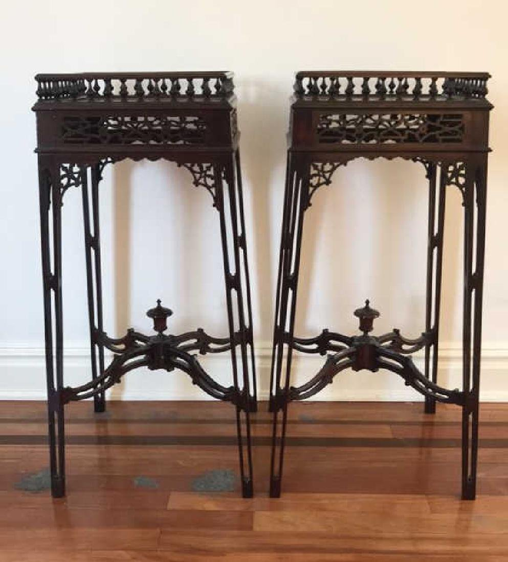 PAIR OF MAHOGANY PLANT STANDS