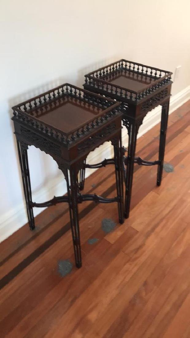 PAIR OF MAHOGANY PLANT STANDS - 2
